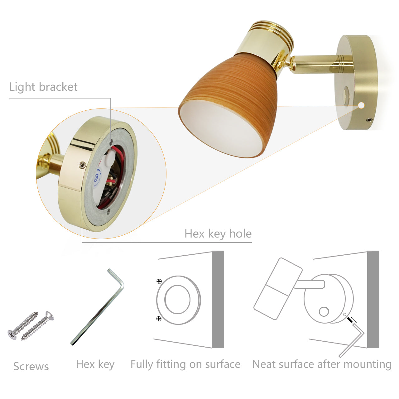 12V Reading Light Teak Color Glass Dimmer Touch Adjustable with/without USB Port - GenuineMarine