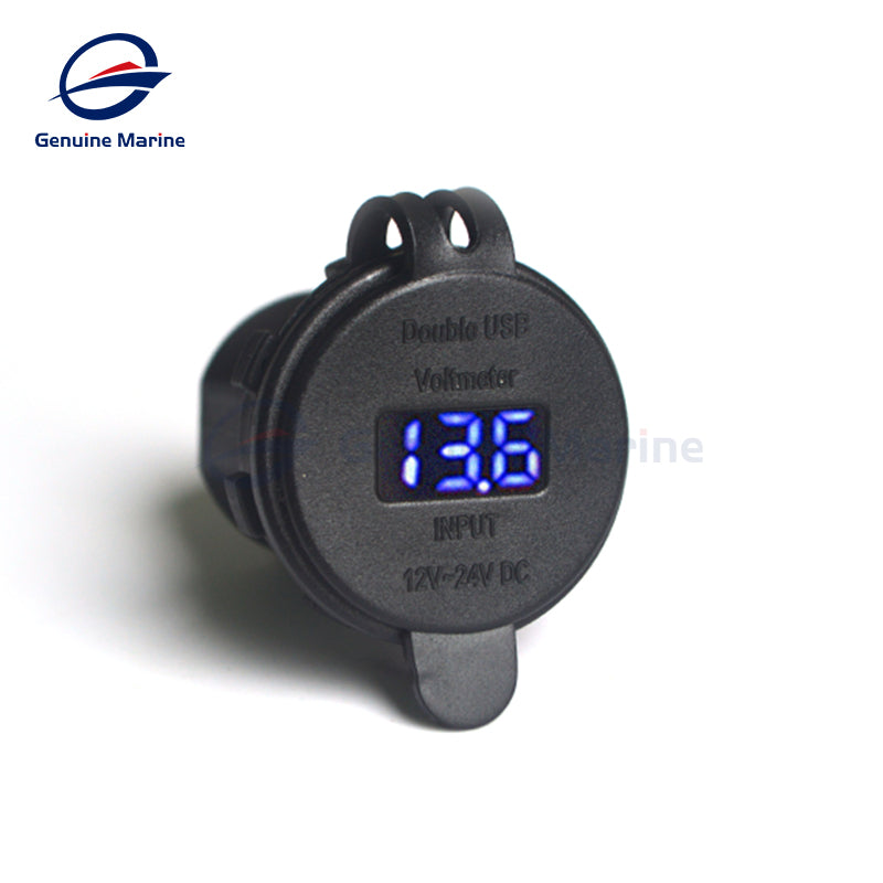 4.2A Dual USB Charger Digital Voltmeter Universal Waterproof - GenuineMarine
