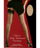 Fully Fashioned Stockings Natural and Black Contrast