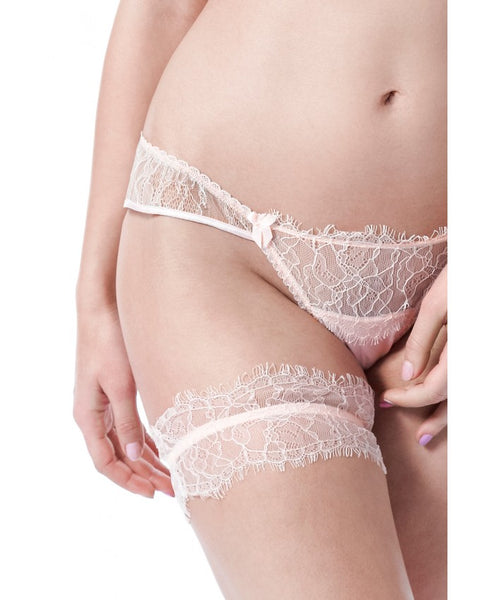 Oyster Whippy Silk and Lace Garter