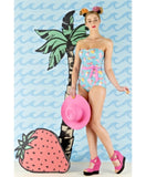Ice Cream Bandeau Detachable Strap Swimsuit
