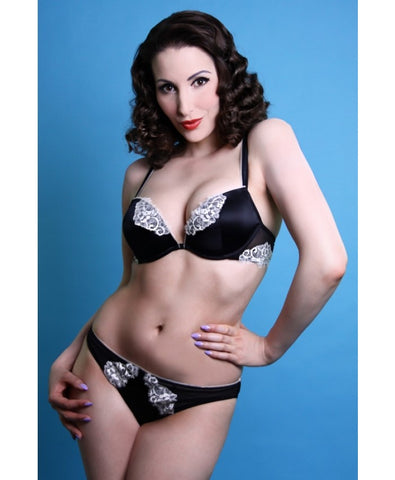Black and Cream Lace La Vintage Brief