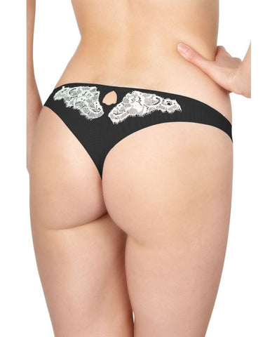 Black and Cream Lace La Vintage Tanga