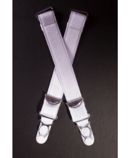 Set of 6 White Suspender Straps