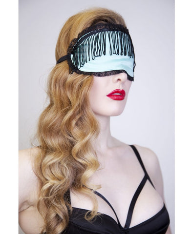 Mint Eye Mask with Black Tassels