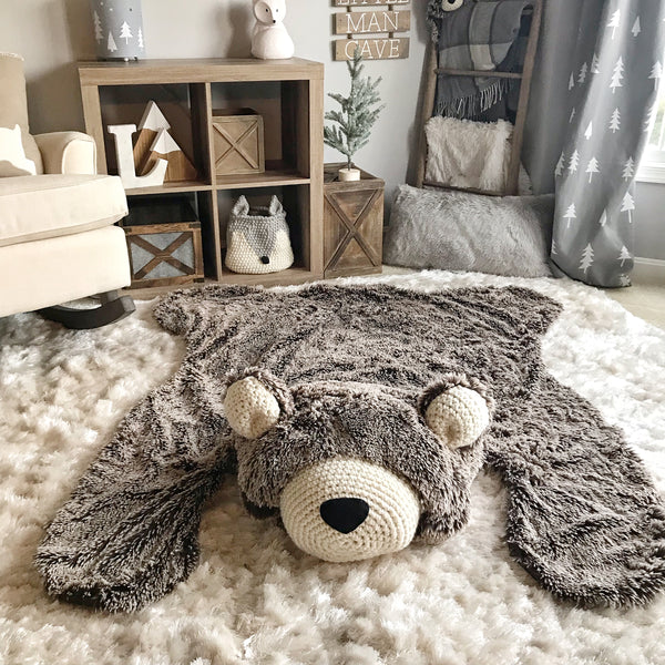 Large Brown Frosted Minky Bear Rug