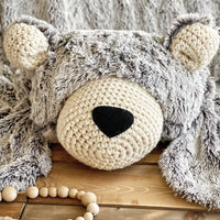 Large Grey Frosted Minky Bear Rug