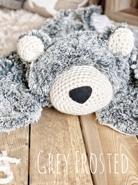 Regular Size Grey Frosted Minky Bear Rug