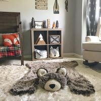 Regular Size Brown Frosted Minky Bear Rug