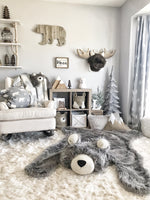 Extra Large Grey Grizzly Bear Rug