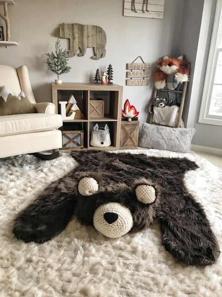 Extra Large Brown Grizzly Bear Rug