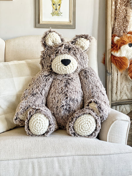 ClaraLoo Large Plush Bear Bud - Brown Frosted Minky