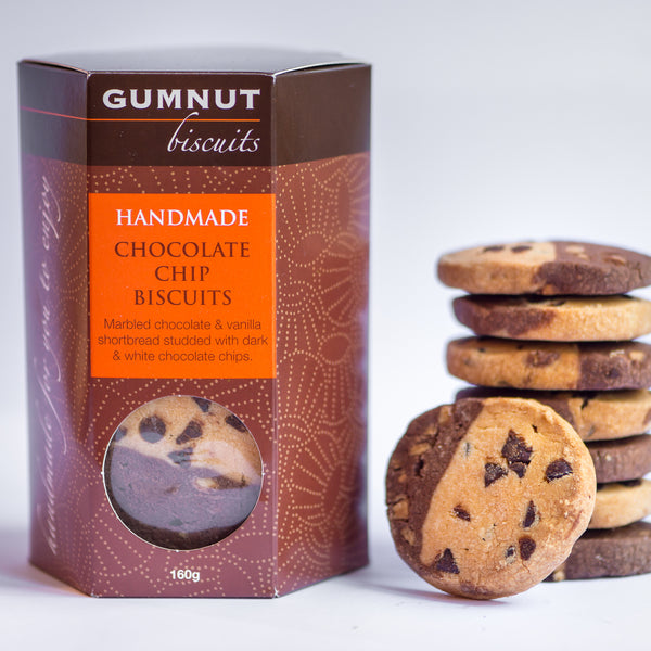 Gumnut Biscuits marbled chocolate and vanilla shortbread with dark and white chocolate chips