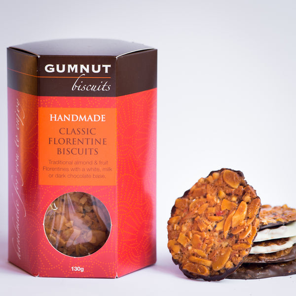Gumnut Biscuits Petite Florentines with slivered almonds, orange peel and cherries