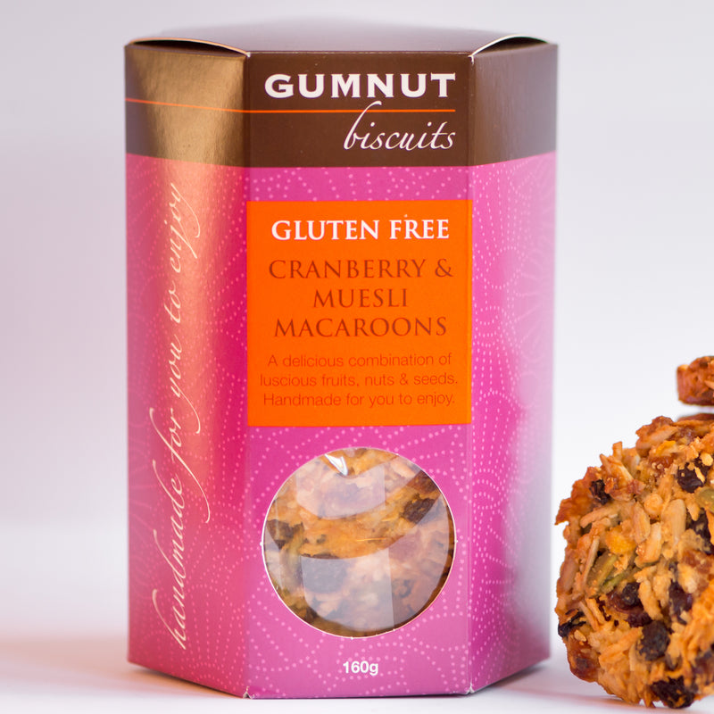 Gumnut Biscuits Cranberry and Muesli Macaroons, a crunchy gluten free biscuit with luscious dried fruits, nuts and seeds