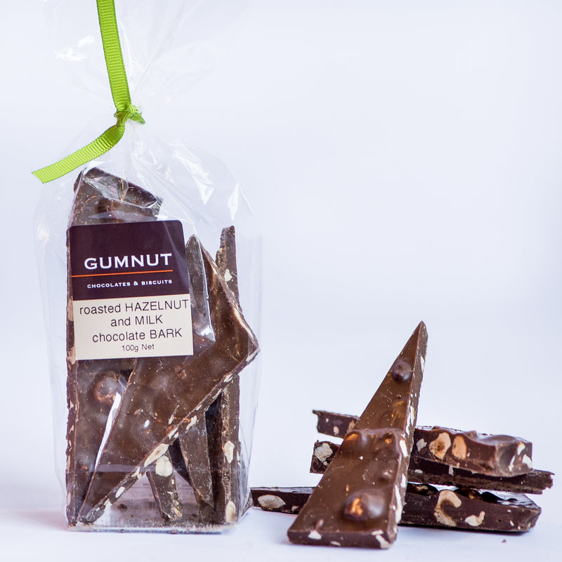 Roasted Hazelnut & Milk Chocolate Bark 100g