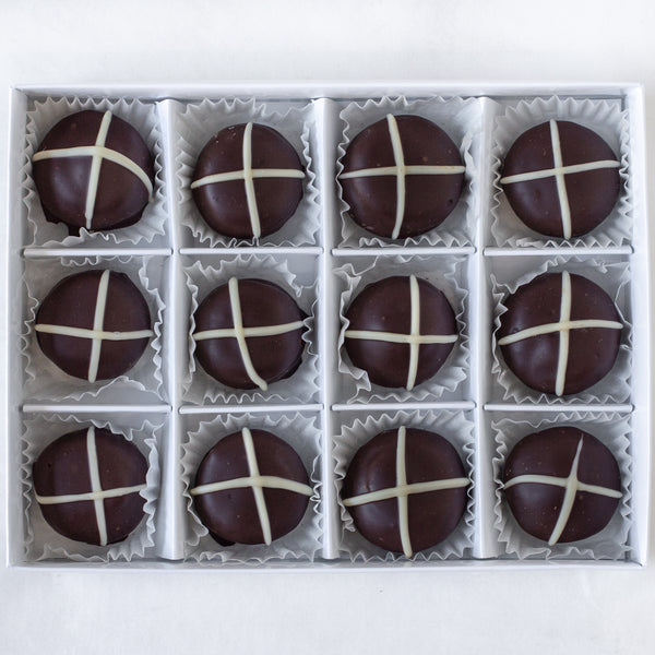 "Dark Chocolate ""Hot Cross Bun"" Truffles (box of 12 truffles/200 grams)"