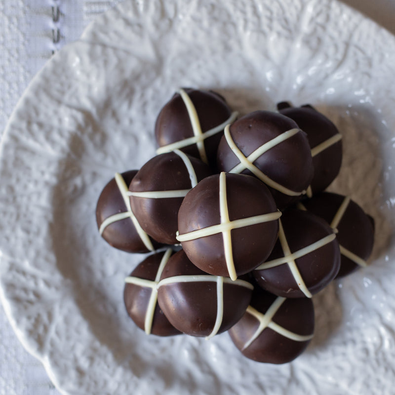 "Dark Chocolate ""Hot Cross Bun"" Truffles (box of 6 truffles/100 grams)"