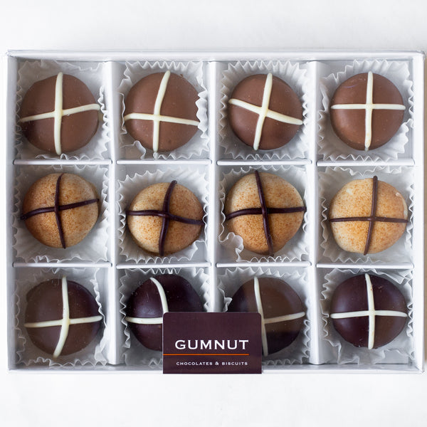 "Assorted Chocolate ""Hot Cross Bun"" Truffles (box of 12 truffles/200 grams)"