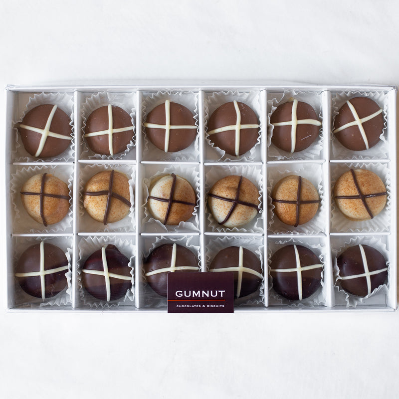 "Assorted Chocolate ""Hot Cross Bun"" Truffles (box of 18 truffles/300 grams)"