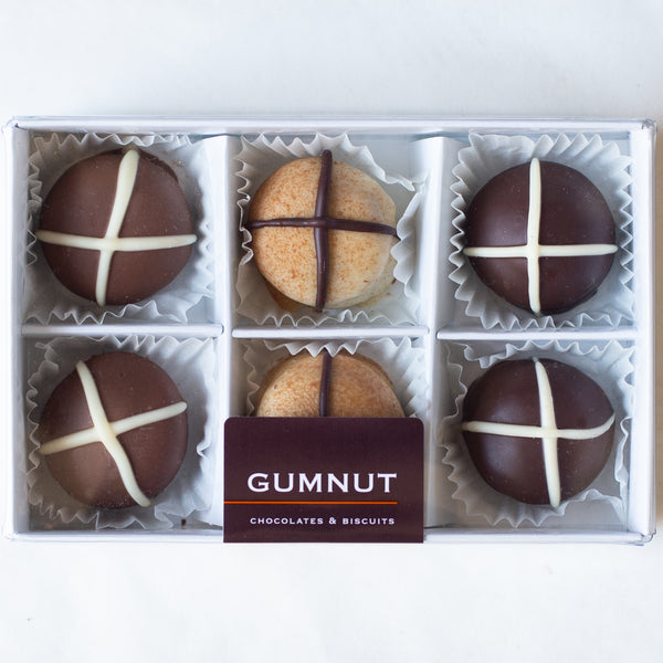 "Assorted Chocolate ""Hot Cross Bun"" Truffles (box of 6 truffles/100 grams)"
