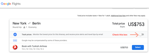 Track Prices on Google Flights