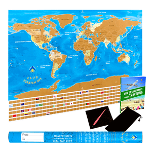 Scratch Off World Map & Poster with Country Flags and US States