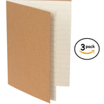 Lined Refill Book Inserts for Leather Travel Journal (3 Notebooks & 180 Pages)