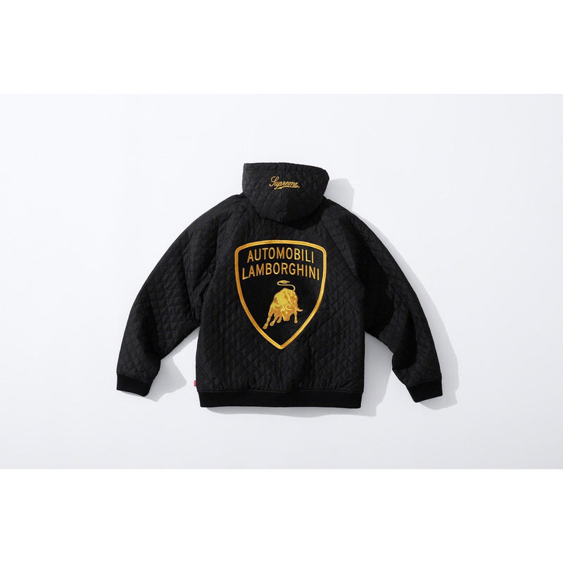 Supreme x Lamborghini - Black Quilted Hooded Jacket - Centrall Online