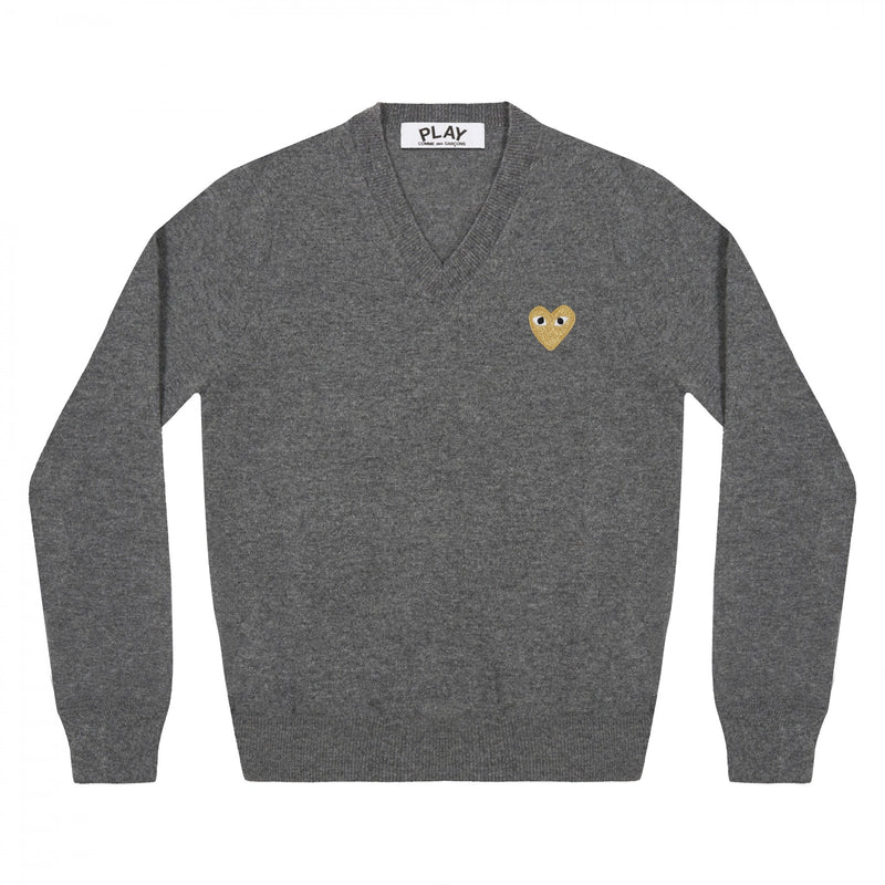 CDG Play - Grey Gold Heart V-Neck Wool Sweater - Centrall Online