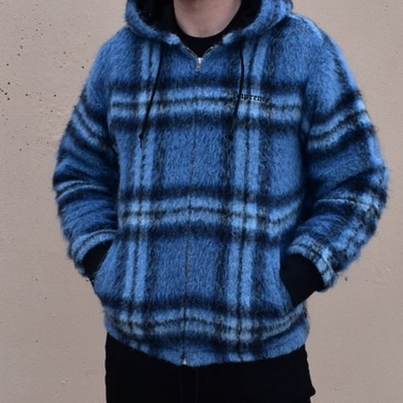 Supreme - Blue Plaid Mohair Hooded Jacket - Centrall Online