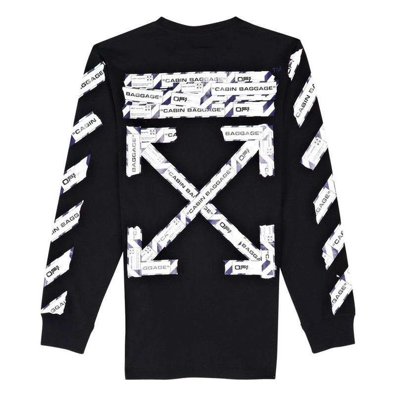 Off-White - Black Airport Tape Long Sleeve Tee - Centrall Online