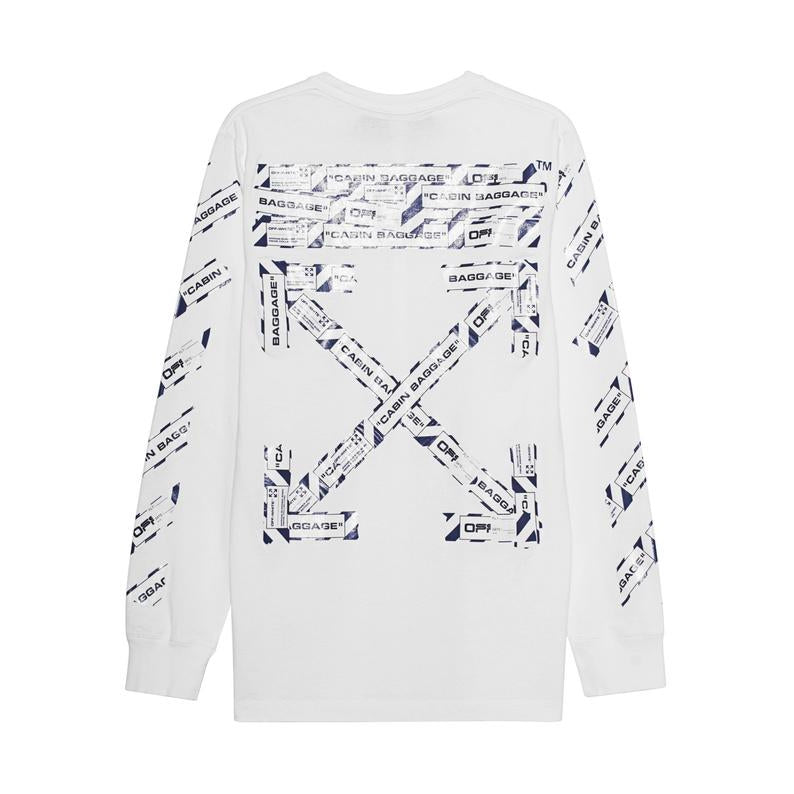 Off-White - White Airport Tape Long Sleeve Tee - Centrall Online