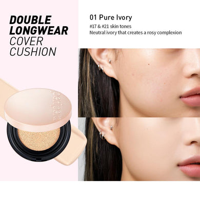 PERIPERA Double Long Wear Cover Cushion SPF45 PA++ 12g #01 Ivory