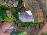 Forest Sabertooth Tiger Skull with Amethyst Gemstone Crystal 3D Printed