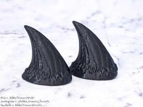 Small Demon Oni Horns Pair for Cosplay or Fursuit Costumes 3D Printed Black