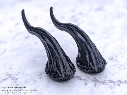 Small Dragon Horns Pair for Cosplay or Fursuit Costumes 3D Printed Black Prong Style