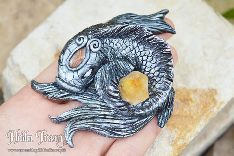 Koi Fish Gemstone Sculpture