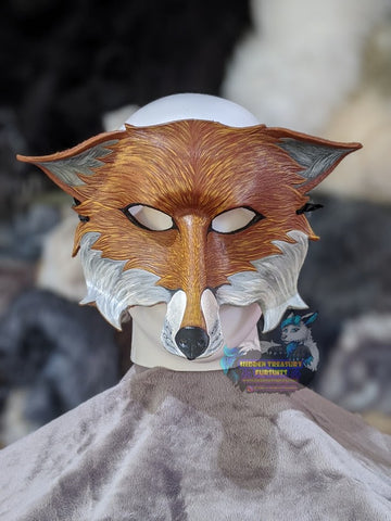 Handcrafted Leather Fox Larp Mask