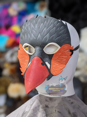 Handcrafted Leather Zebra Finch Bird Larp Mask