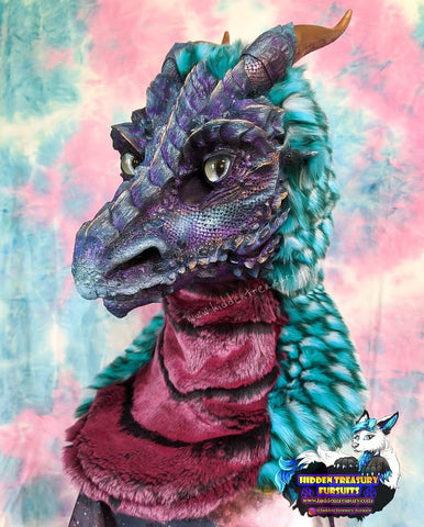 Arcane Dragon Realistic Pre-made Fursuit Head