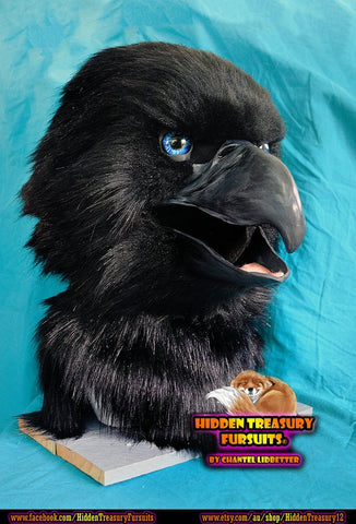 MADE to ORDER Bird Black Eagle Raven Fursuit Head