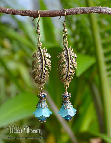 Blue Frost Feather Earrings
