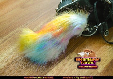 Rainbow Wolf Tail Keychain Furry Fursuit Bag Charm
