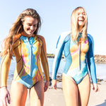 Colourful designer women's surfing wetsuit. Ethical and Sustainable Surfwear and Swimwear