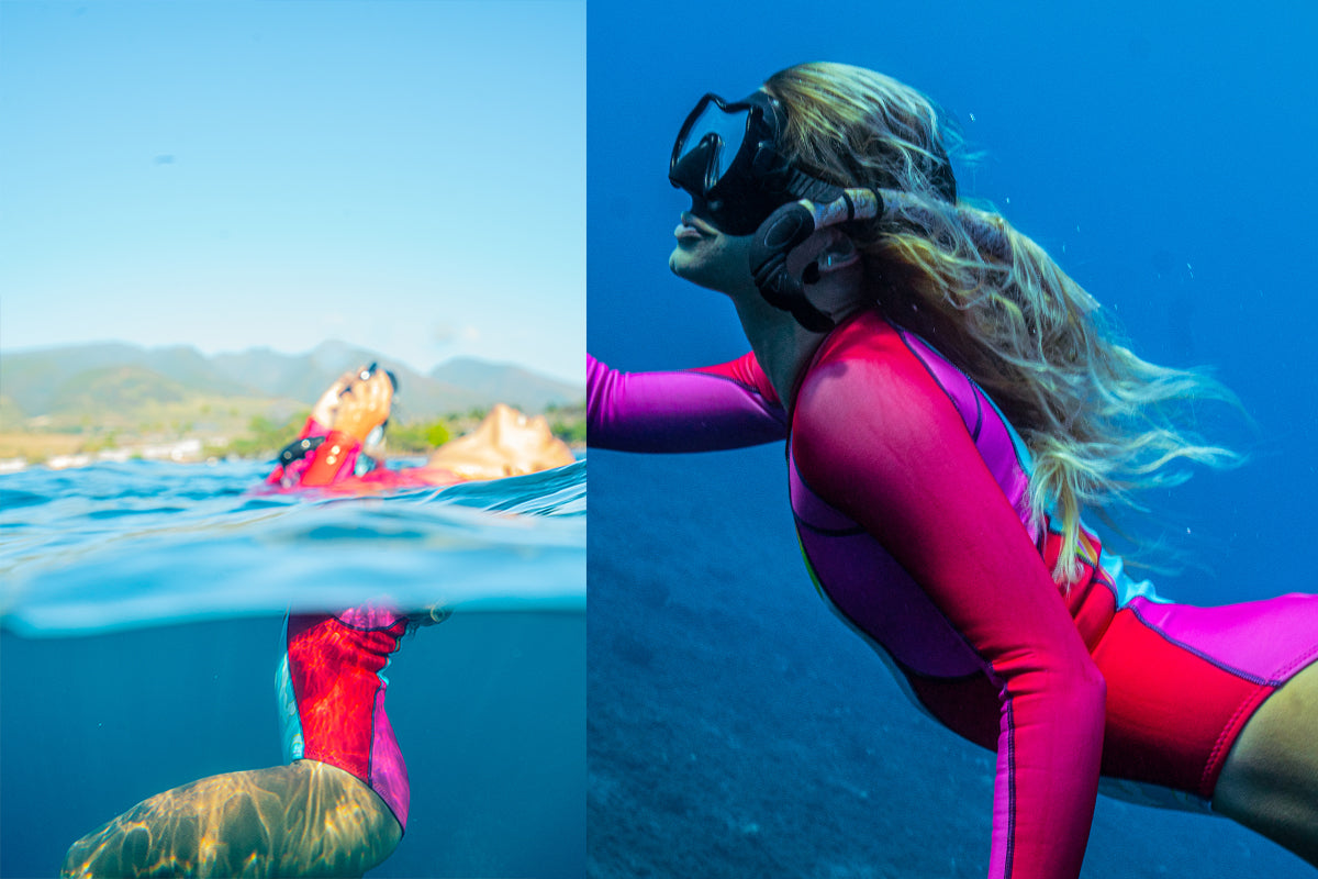 Womens wetsuit, ethical, sustainable, colourful, swimwear, surfwear