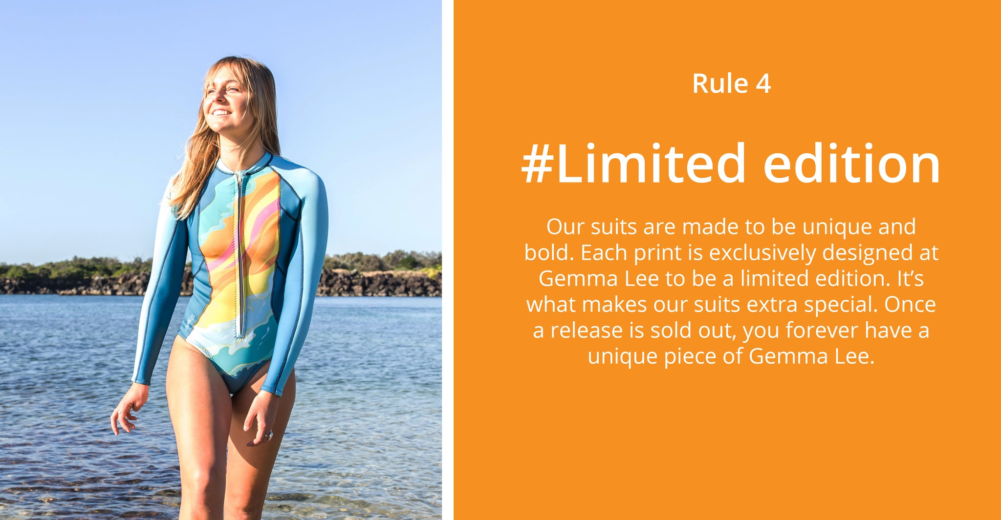Colourful Designer Women's Surfing Wetsuits. Ethically made in Australia │ Sustainably Conscious Surfwear and Swimwear │