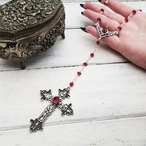 Rosary 'Repent' Necklace (Colour Options)