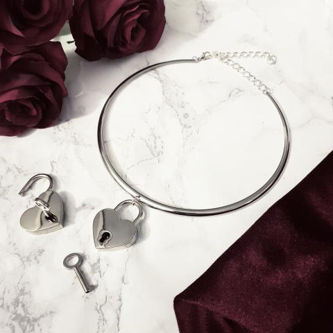 'I Confess' Heart Silver Band Collar Choker