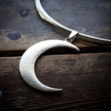 Silver Band Moon Choker
